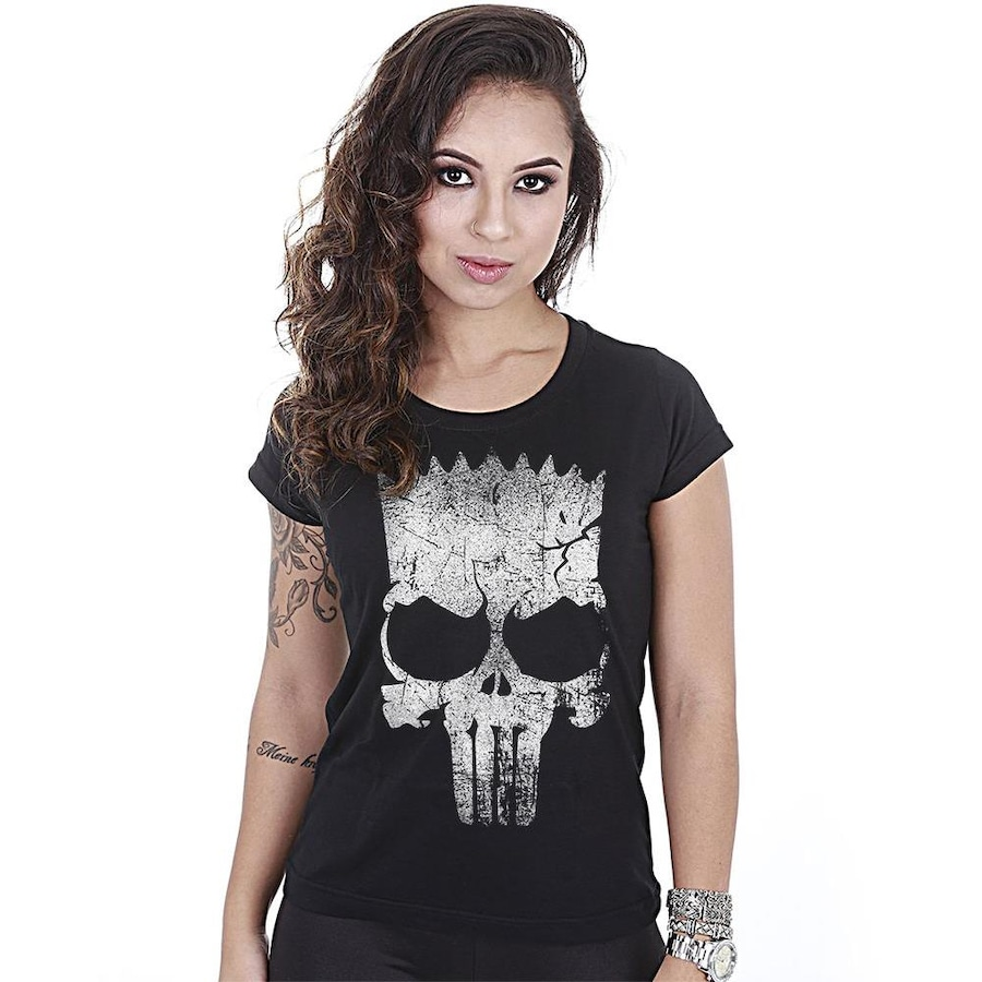 4c6c3498afaaf Camiseta Team Six Militar Baby Look Punisher Bart - Feminina