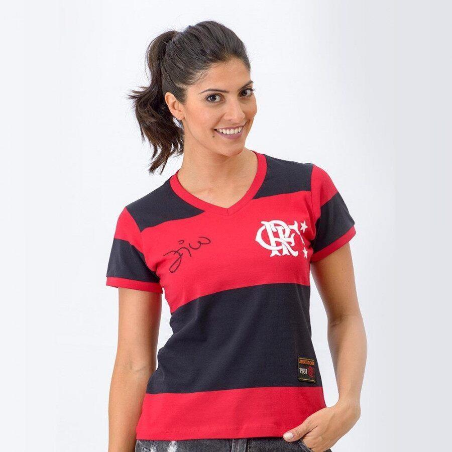 bf88470cce26b Camisa Retrô Gol Flamengo Baby Look 1981 Zico Libertadores - Feminina