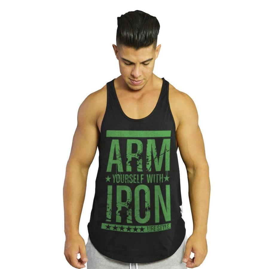 3b7af9246b Camiseta Regata Diet Fitness Cavada Arm Yourself With Iron - Masculina