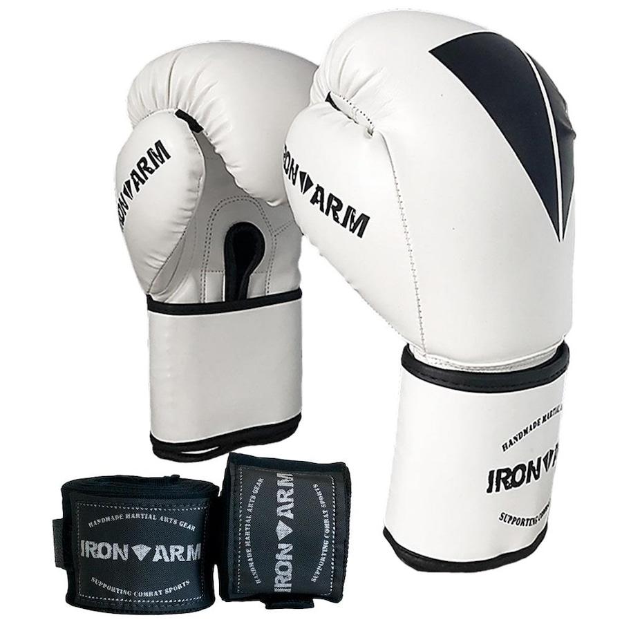 e2b07747c Kit Luva Boxe Muay Thai Iron Arm + Bandagem - Adulto