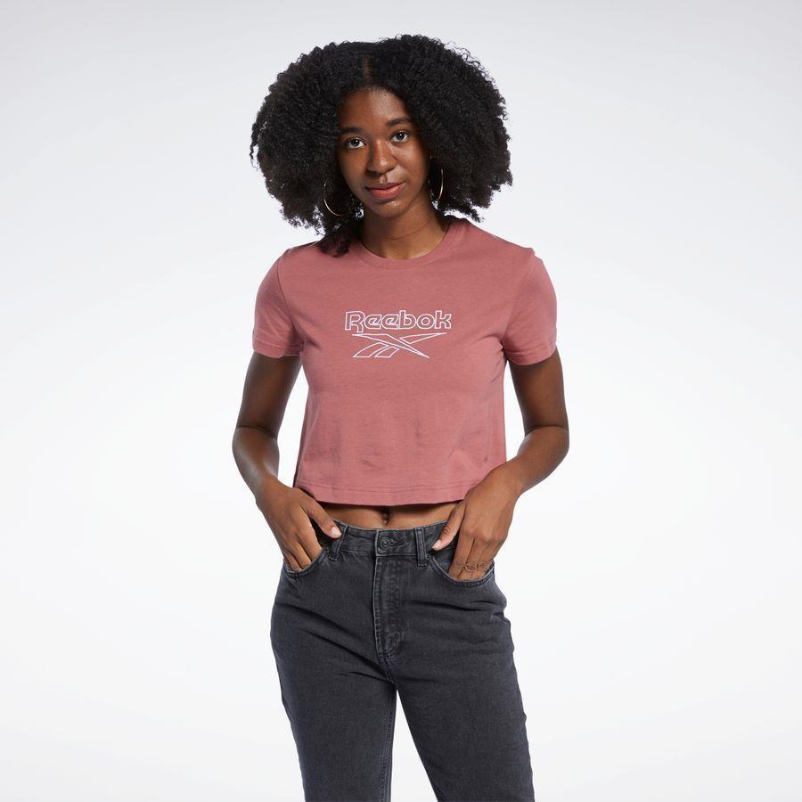Blusa <em>cropped</em> com logo 100% algodão, da Reebok