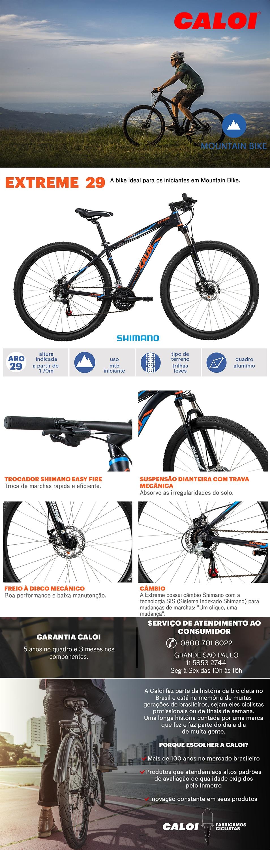 14560f65b Mountain Bike Caloi Extreme - Aro 29 - Freio a Disco - Câmbios ...