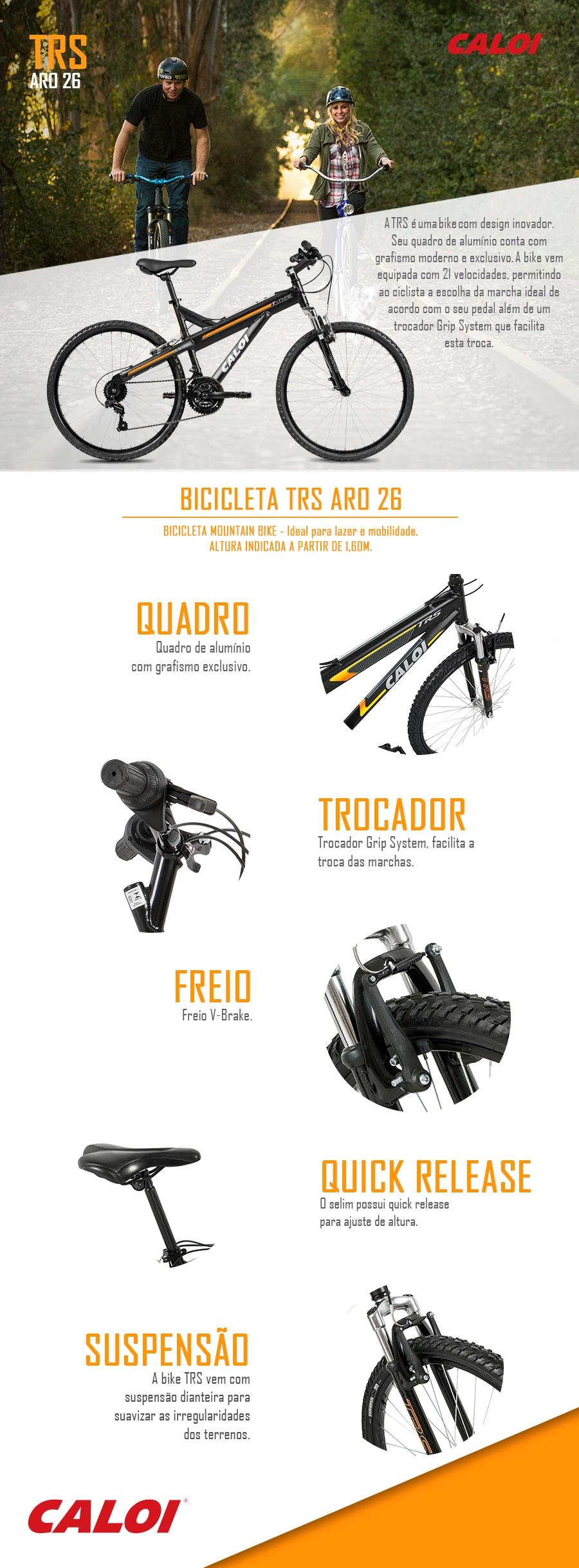 3ab5c0cd4 Bicicleta Caloi TRS - Aro 26 - Freio V-Brake - Câmbio Traseiro Caloi ...